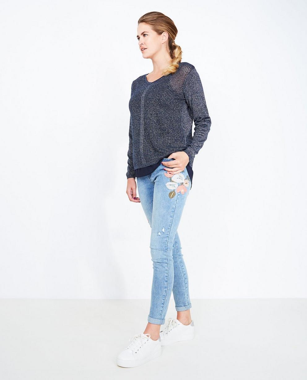 Lichtblauwe skinny jeans - met borduursel - JBC